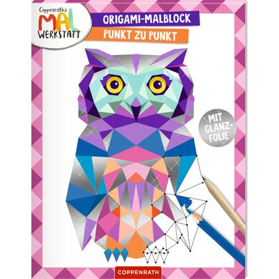 In diesem mit Silberfolie ausgestatteten Malblock können wunderschöne, detailreiche Tiermotive von Punkt zu Punkt ergänzt und im Origami-Design ausgemalt werden. Gestalte dein eigenes Ausmalbild im Origami-Stil!