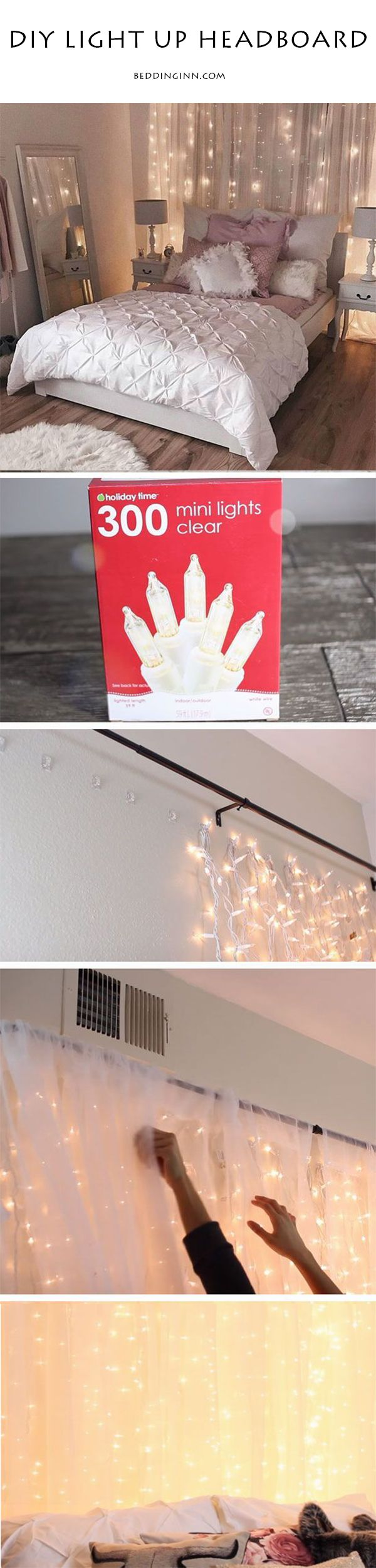 5 mins to create a dreamy light up headboard.If you want to turn your room into a romantic retreat,just try this way! #homedecor #DIY (Just Try Ideas)