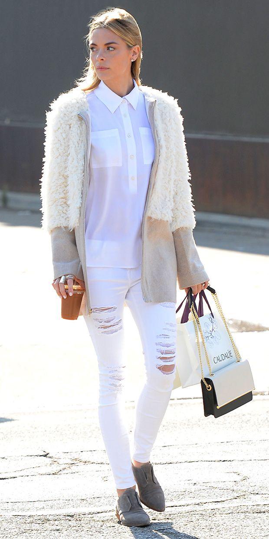All white plus fuzzy neutral jacket.