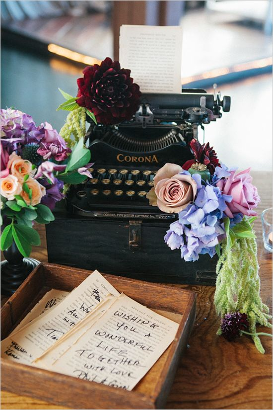 guestbook ideas :: guests write a message on pages of a vintage book (book is bound later)