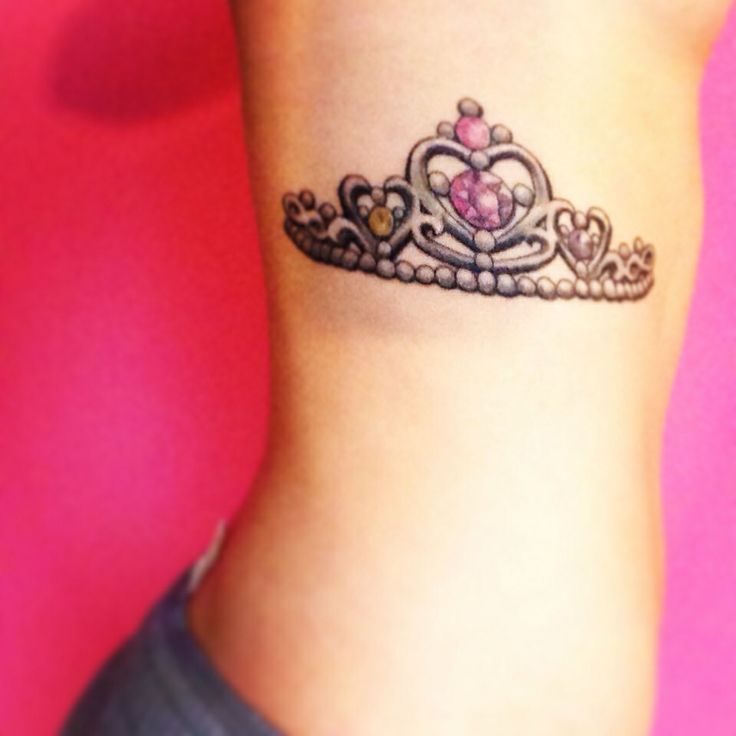 tiara tattoo. colors are my mothers, fathers, & my birthstones.