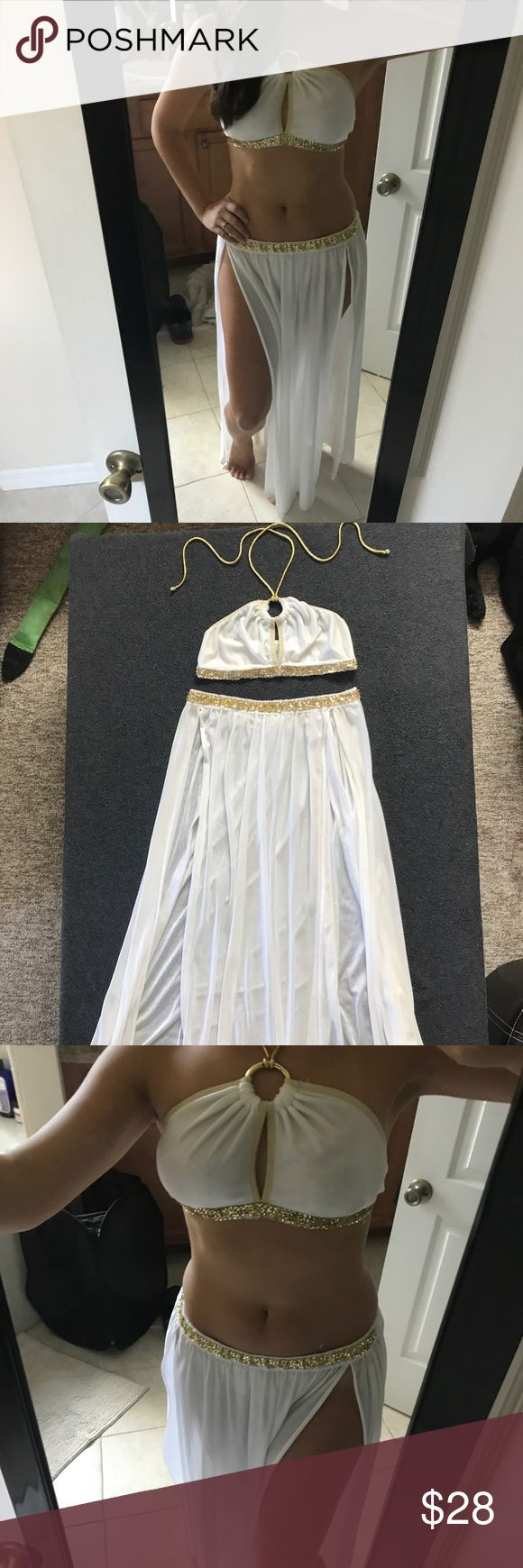 Goddess Halloween Costume Leg Avenue Sz S Great condition! Flaws at show in last two pictures- some light minor stains on the back of the draped skirt, and small area of sequins missing on the top but not noticeable since it is on the side under the arm when on. Size small from Leg Avenue Other