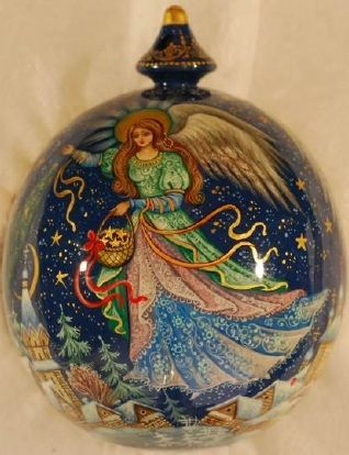 Christmas Angel - lacquer painted wooden ornament Kholui style