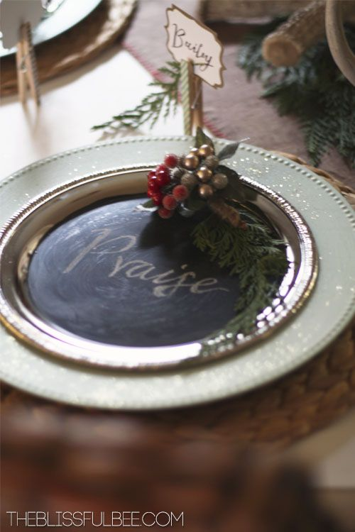 Rustic Christmas Tablescape at The Blissful Bee