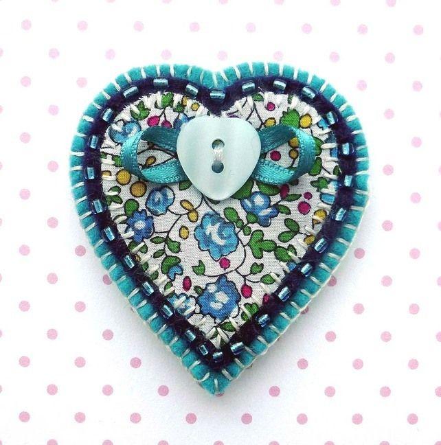 Felt Valentine Heart Brooch £8.50