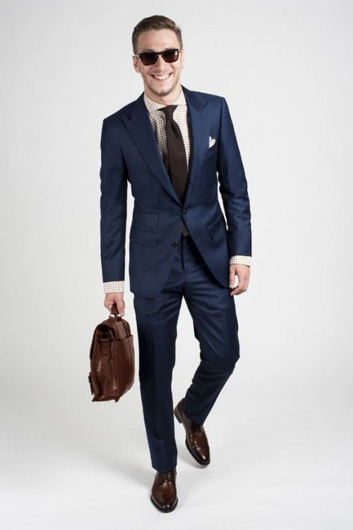 Click to enlarge Picture Of navy suit, brown shoes, a dark brown tie and a