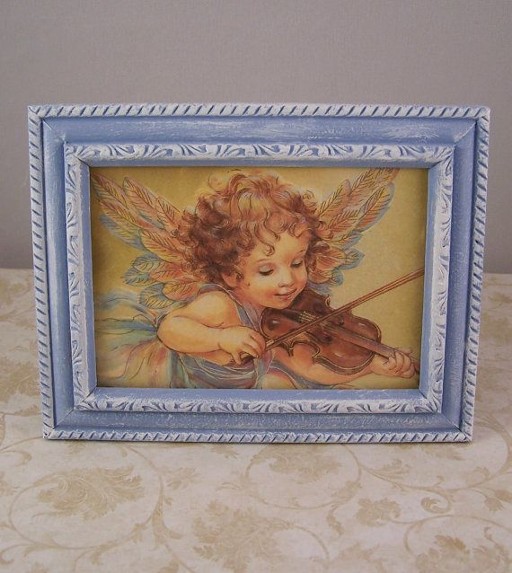 4x6 Picture Frames Angel Picture Frame 4x6 Blue Distressed
