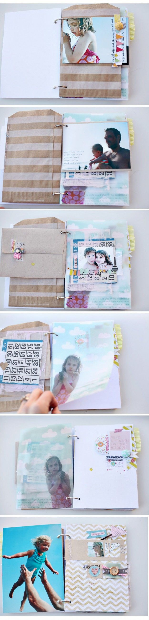 seriously adorable mini album from elizabeth kartchner - love how she printed right onto the vellum paper!