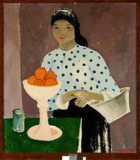 Interiør med pige og appelsiner by Olaf Rude