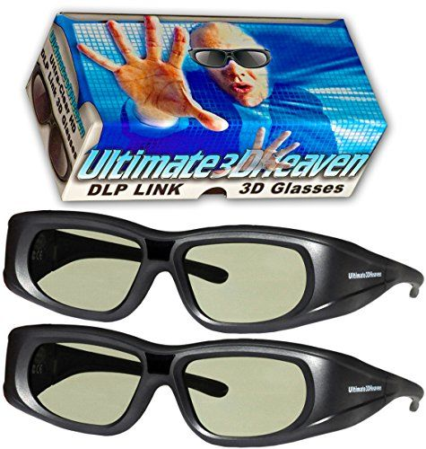 DLP LINK 144 Hz Ultra-Clear HD 2 PACK 3D Active Rechargeable Shutter Glasses for All 3D DLP Projectors  BenQ Optoma Dell Mitsubishi Samsung Acer Vivitek NEC Sharp ViewSonic & Endless Others!