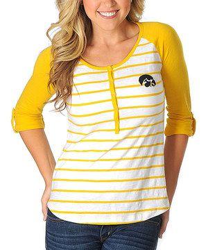 Love this Iowa Hawkeyes Stripe Baseball Henley - Women by University Girls Apparel on #zulily! #zulilyfinds