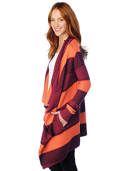 Splendid Maroon and Orange Stripe Wrap Sweater--Perfect for Hokie GAMEDAY!