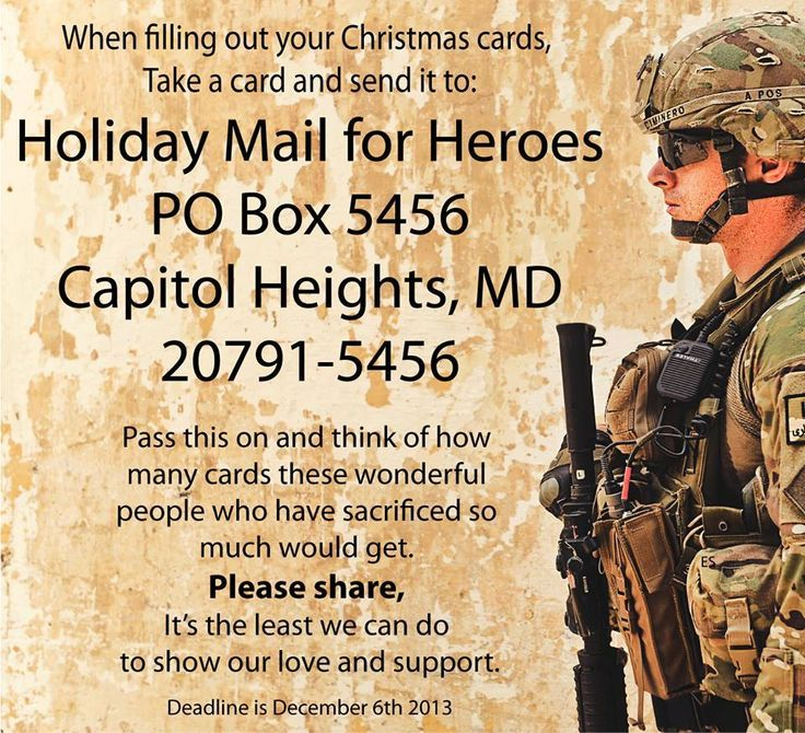 """Holiday Mail for Heroes   """"PLEASE remember to do this as ..."""