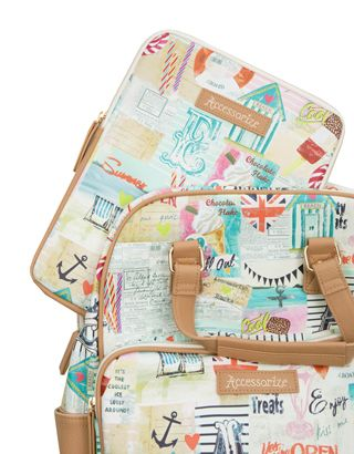 Head to the coast with our Margate rucksack, printed with beach huts, ice lollies, rock candy, anchors and seaside-themed slogans. This quirky piece has a spacious zipped compartment and a front pocket, and can be worn over your shoulders or carried in hand using the top handle.