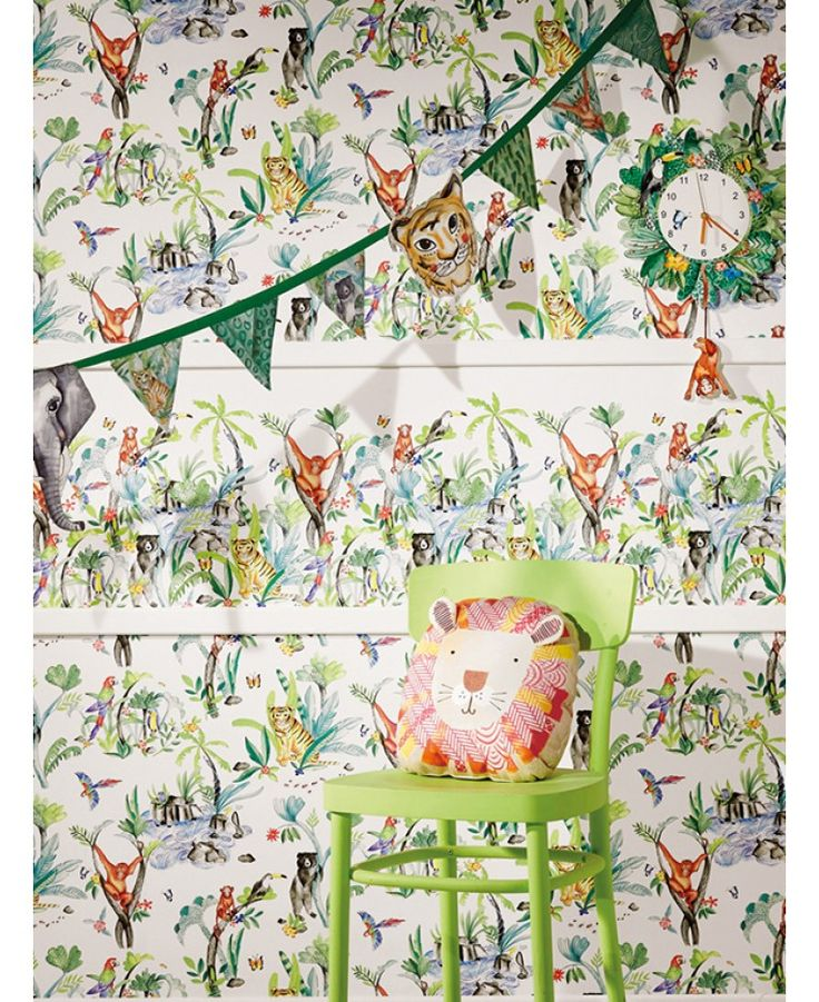 This playful Jungle Mania Wallpaper by Arthouse is ideal for giving a bedroom or playroom a jungle theme. The illustrated style design shows unusual plants and exotic jungle animals in a watercolour effect set upon a white background. This timeless wallpaper could be used to create a feature wall or to decorate an entire room.