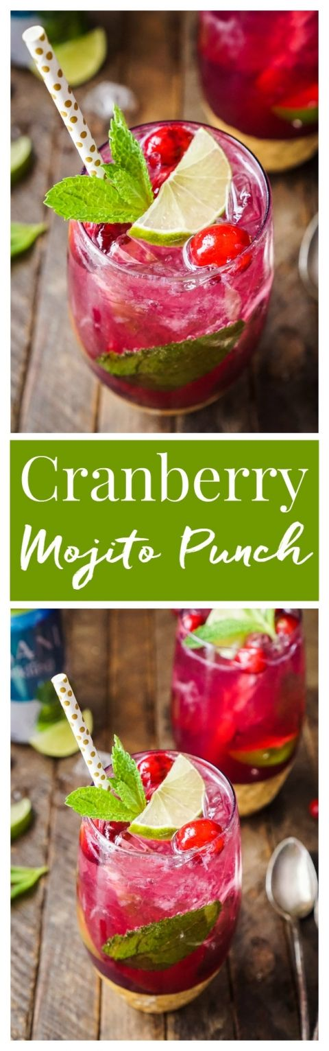 This Cranberry Mojito Punch is so refreshing and flavorful! It's a festive s…