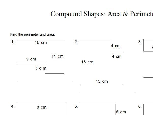 Area And Perimeter Of Compound Shapes Worksheet In 2020 Shapes Worksheets Math Worksheets Worksheets