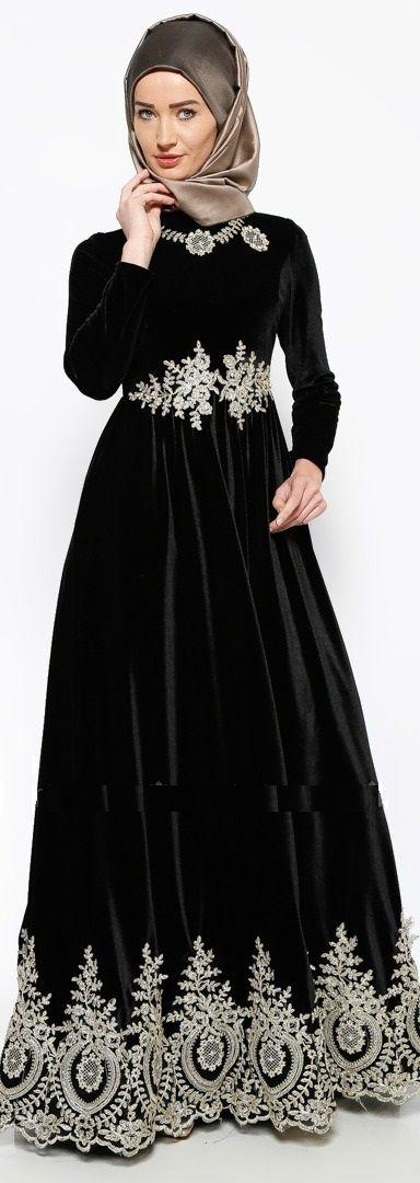 Güpürlü Kadife Abiye Elbise - Siyah - Mislina