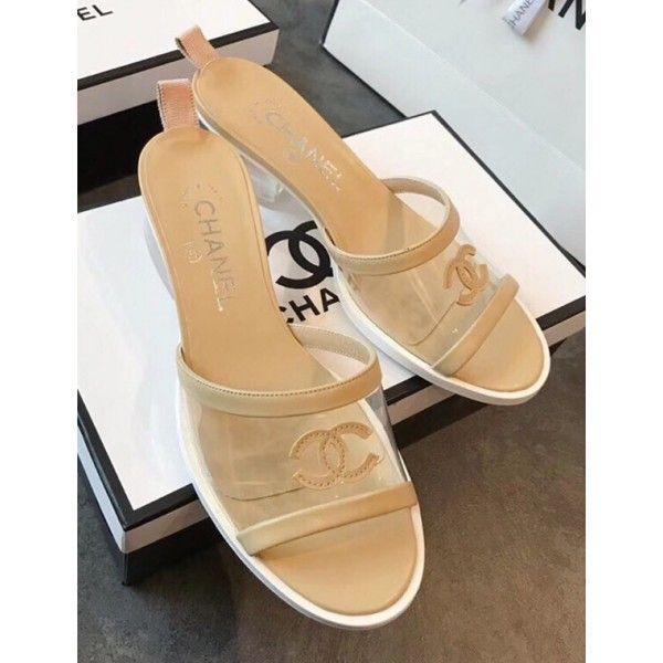 Chanel PVC Heel Mule Sandals Beige 2019