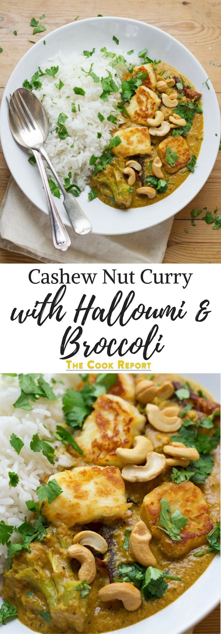 Using halloumi in this creamy cashew nut curry makes a tasty change from a traditional curry. Sprinkle with a handful of whole cashews for an extra crunch.