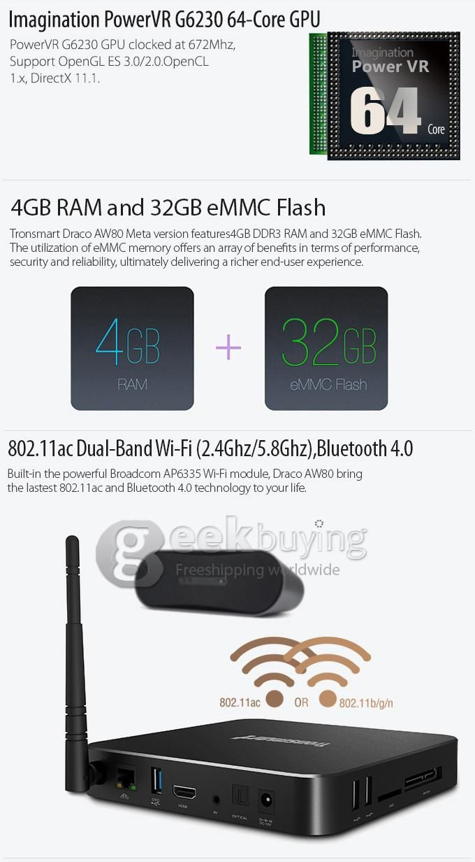Tronsmart Draco AW80 Unboxing with 4 GB RAM and 32GB eMMC