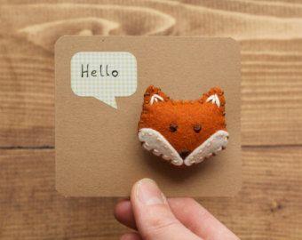 Orang Red Fox Plush | Handmade Felt Fox Pin, Hand Embroidered, Red Fox, Toffee, Rust Orange ...