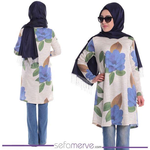 Tesettür Gül Baskılı Tunik 0689-04 Taş İndigo  #sefamerve #tesetturgiyim #tesettur #hijab #tesettür