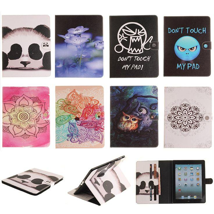 For iPad 2 3 4 9.7 inch Case Fashion Flower Panda Owl Style PU Leather Flip Tablet Back Cover For Apple iPad2 iPad3 iPad4 Capa