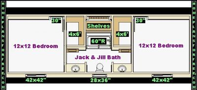 Bathroom plan design ideas jack and jill 12x14 bathroom for Bedroom ideas 12x14