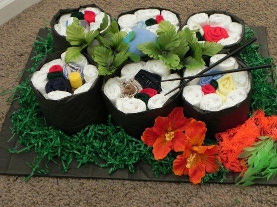Sushi.   31 Diaper Cake Ideas That Are Borderline Genius