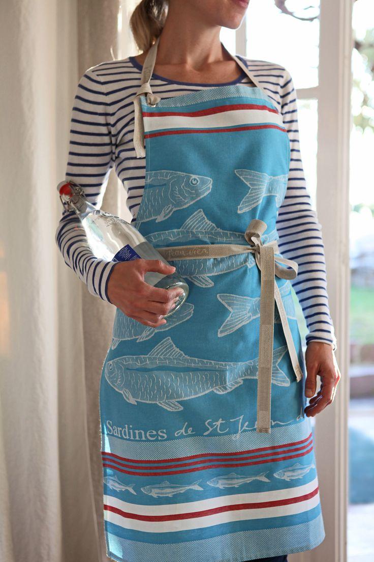 White apron inc brea ca - Tablier Arnaga Sardines Bleu