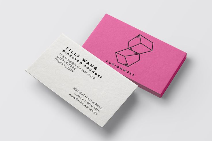 Business card design for FUSIONWELL-London based furniture company