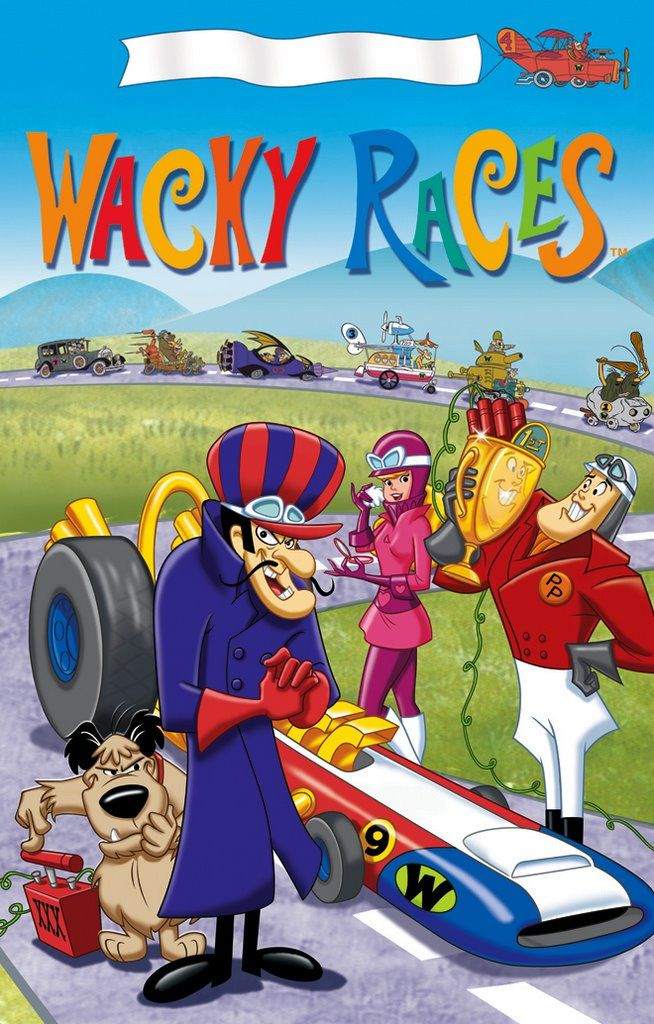 Wacky Races! I love Muttley, Sawtooth the beaver, the Ant Hill Mob and when Peter Perfect and Penelope Pitstop are together during races! They're so cute together!