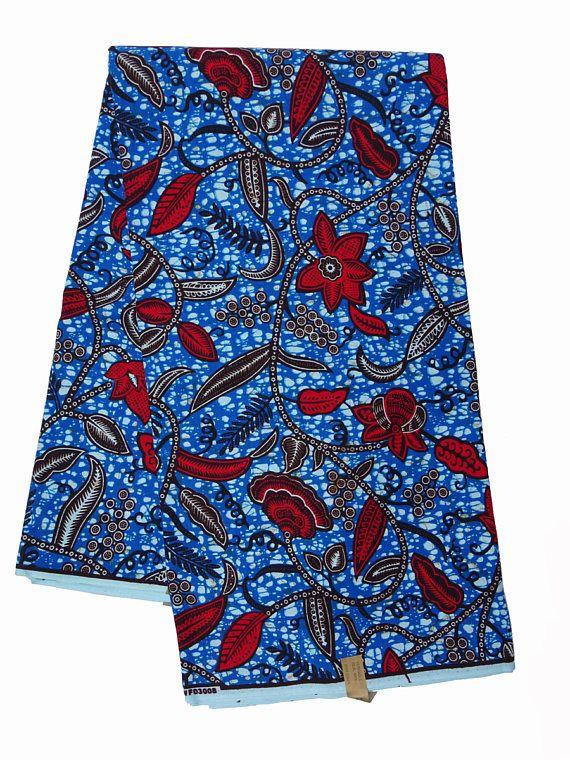 Tissu africain, Wax africain en tissu imprimé, pagne bleu couleurs rouges et blancs. Belle Floral imprimé «Piste de feuille». Garanti sans impression de cire, lavable en Machine. Cet belle du tissu Wax, aussi connu comme Ankara, est idéal pour la fabrication de vêtements uniques,