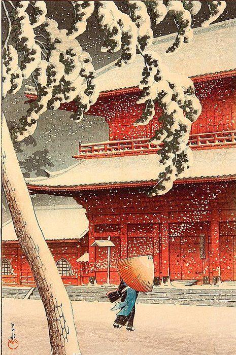 Japanese Ukiyo-e: Zojo Temple, Shiba. 【芝増上寺】Kawase Hasui(川瀬巴水)...