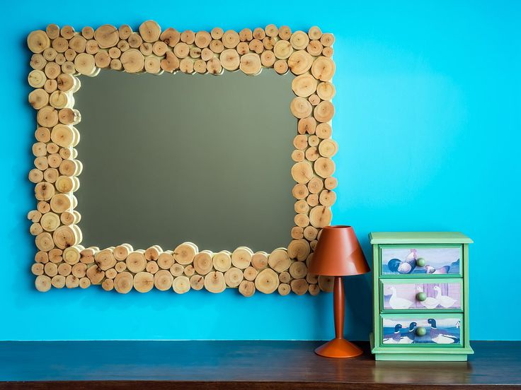 Spiegel uit houtblokjes - blauwe kinderkamer