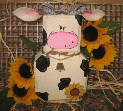 Cow painted brick doorstop