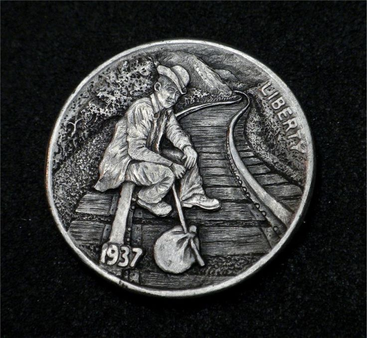 """Hobo Nickel """"Moving On"""" Railroad Coin by Howard Thomas"""