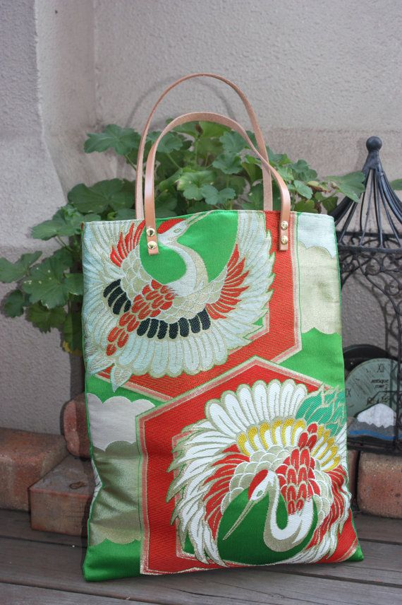 GR119 Beautiful Crane Pattern OBI Tote Bag With by RummyHandmade, $50.00