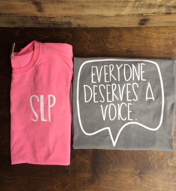 This is a comfort color tshirt with the words SLP on the front chest and Everyone deserves a voice in a speech bubble on the back. The design on the front and back will be in all white. The colors of the shirts in the picture is comfort colors pink and grey. We can do other colors please just let us know if you would like another color.  Care Instructions for Vinyl: Do not dry clean Do not bleach Wait 24 hours before the first wash Turn the garment inside out Machine wash warm with mild…