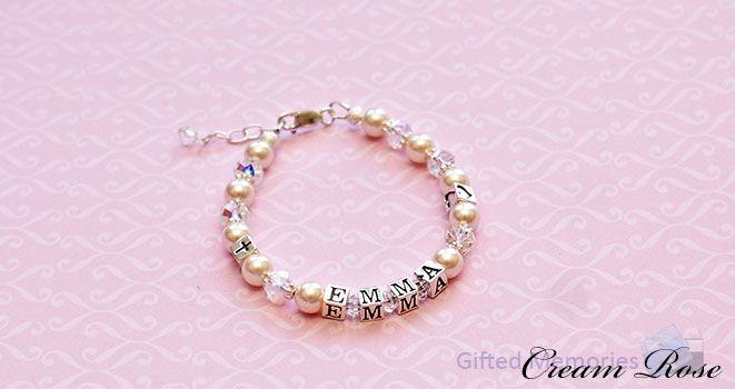 Crystal Christening and Pearl Personalised Name Bracelet Jewellery. Find it at www.giftedmemoriesjewellery.com.au