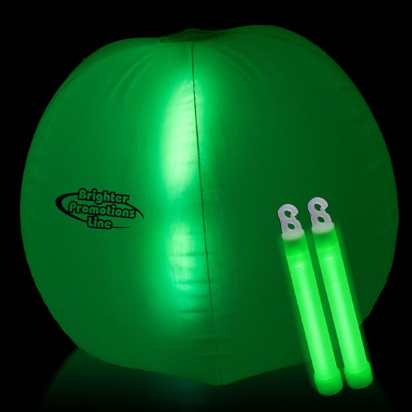 """This unique Beach Ball lights up in the dark with the use of a High Quality 6 in. Glow Stick that you would insert into the center of the Beach Ball. Easy to use, Fun to play. The Very Bright Glow Stick makes this a great night time or dark venue advertising platform. Best thing of all is you can buy additional 6"""" glow sticks to re-use this glowing beach ball for any color scheme you choose! Select 2 colored 6 in. light sticks. Glow items by nature a 1 time use only."""