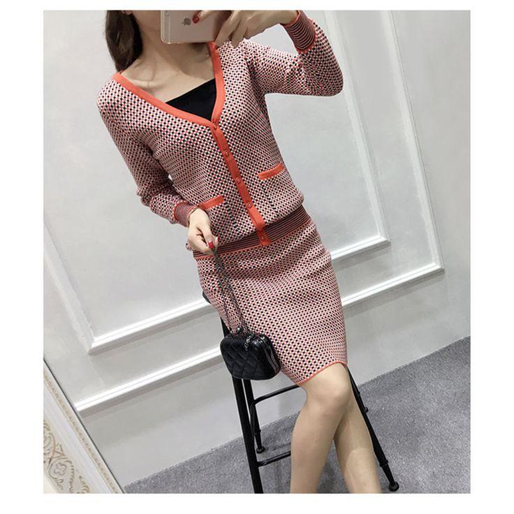 2017 Gaya Preppy Rajutan Rok Setelan Musim Gugur Musim Dingin Lengan Panjang V leher Sweater Wanita Set Mode jaringan Crop Top Dan Rok Set