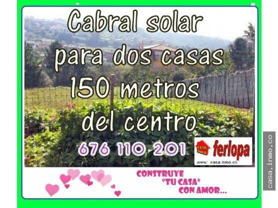 VENTA DE TERRENO EN CABRAL PARA 2 CASAS - CABRAL.  Cabral Para 2 Casas. Se puede hacer dos Chalet individuales o dos adosados. Zona bien comunicada y escasos metros del centro de Cabral, con vistas y soleada. Finca semi cerrada y rectangular.   #cabral;  #vigo;  #cabral_vigo; #solar; #casa; #venta; #compra; #se_vende; #se_compra, ; #venta_de_pisos; #venta_de_casas; #venta_de_chalets; #venta_de_terreno_en_cabral; #inmobiliarias_vigo.