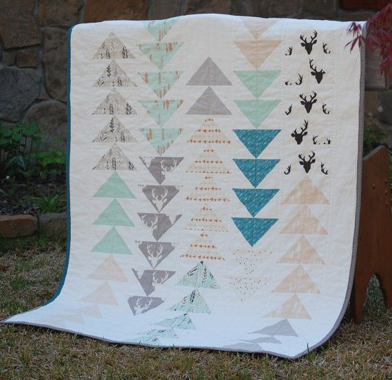 Nature Themed Crib or Toddler Quilt for Boy by QuiltsbyCatherine
