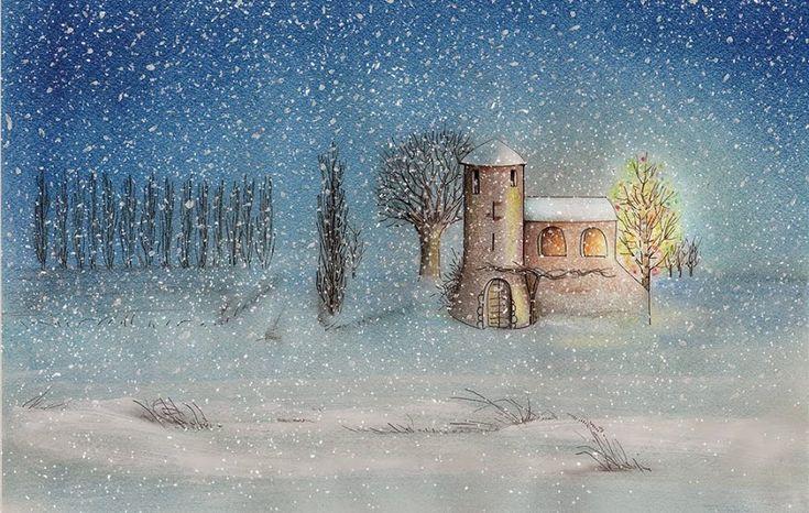 Dicembre. Pen + soft pastels. #illustration #art #poetry #BettinaBaldassari