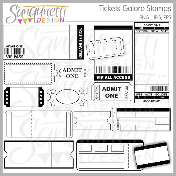 Tickets Galore Digital Stamps comes with any kind of ticket style you can think of, event, movie, reward, train, vip and more!  Great for invitations, reward programs, carnival parties, scrapbooking, card making and lots more!