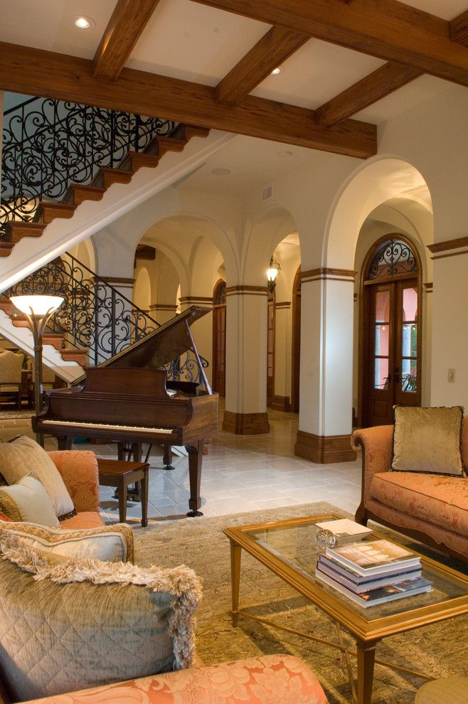 Astonishing-Grand-Piano-decorating-ideas-for-Engaging-Living-Room-Mediterranean-design-ideas-with-arch-arches-baby-grand-piano-beams-ceiling-beams-columns-fringe-glass-coffee « Better Home Lifestyle