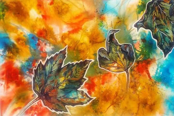 Autumn Dance, watercolour, art work by Irish artist Claire Loughran.