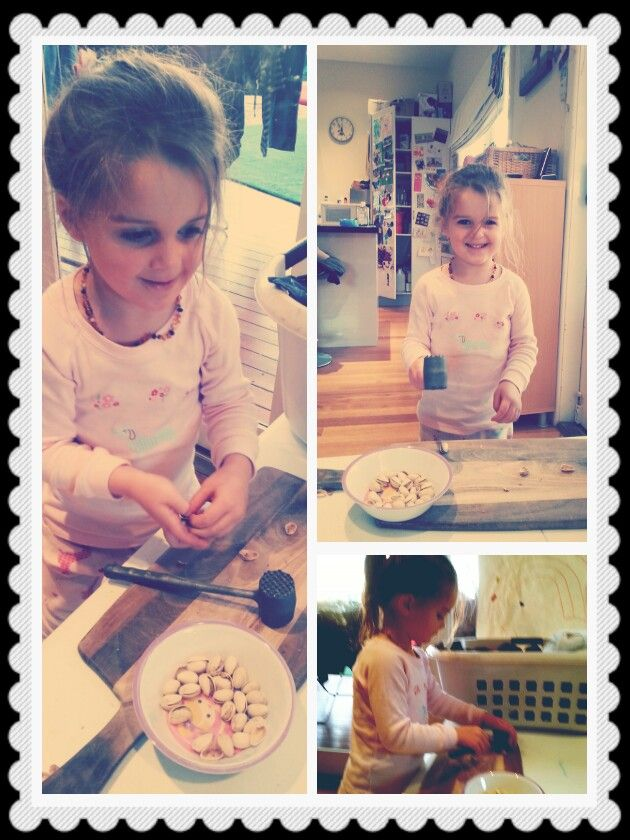 #toddleractivities  Cracking pistachio nuts  Unsalted of course!  You need a little kitchen hammer and a chopping board.  Seriously this was hours of busy busy for tilly!!   Masadamum.blogspot.com